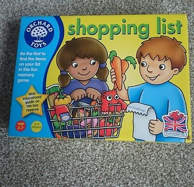 Shopping List Game - Age 3 - 7 Yrs - Brand New by Orchard Toys