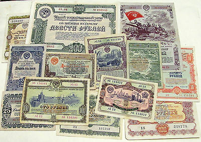 1943-1957 Russia, Collection of Loan Bonds (Obligations) 15 pcs!