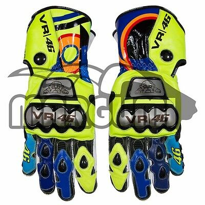 Valentino Rossi 2017 D1 Race Replica Full Metal Motorcycle Leather Gloves