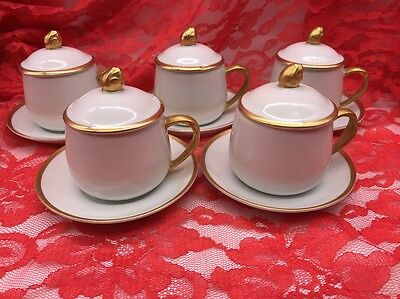 Set of 5 Fitz and Floyd FF Palais White & Gold Pot de Creme 15-pc Set (17-84)