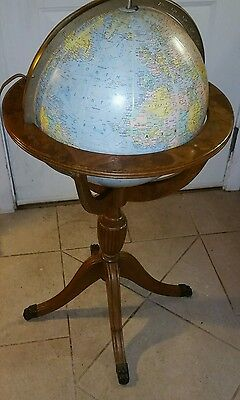 "Rare Vintage 16"" Replogle Comprehension Lighted Globe on Duncan Phyfe  Wood Base"