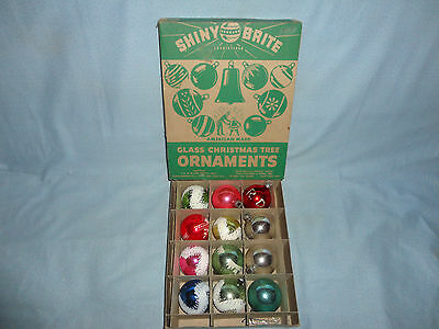 Vintage Set of 12 Shiny Brite Christmas assorted Ornaments in Original Box