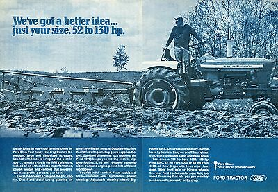 1970 2 Page Print Ad of Ford 5000 Farm Tractor & 130 Plow