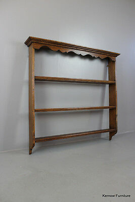 Antique Rustic Oak Plate Rack Wall Hanging Shelves
