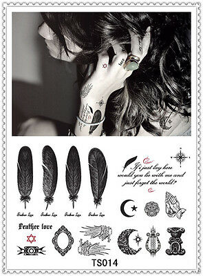 Feather Temporary Tattoo Sticker DIY Keep 3-5 days Waterproof 14x9cm TS014