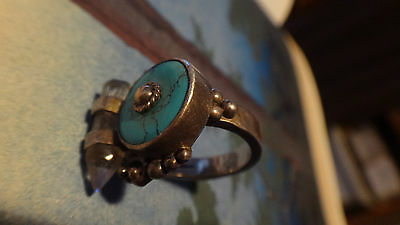 Turquoise Water Quartz Healing Sterling Silver Ring 100% Natural Usa 8.4 Grams