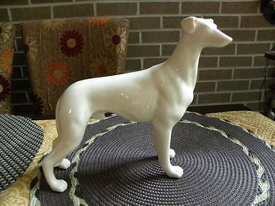 Greyhound white porcelain Figurine Beautifully hand pained $49.90