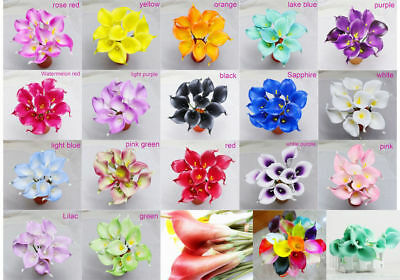 """9pcs/13"""" Artificial Flower Calla Lily Flowers Real Touch Bridal Wedding Bouquet"""