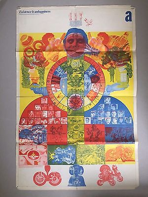 BARNEY BUBBLES poster EXISTENCE IS UNHAPPINESS Oz magazine # 12 David Wills 1968
