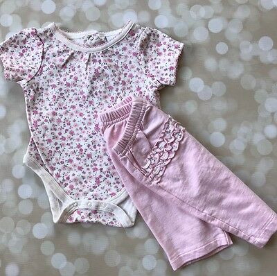 Baby Girls Outfit Vitamins Baby 0-3 Months Pink Floral Bodysuit Pants Ruffles