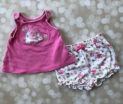 Baby Girls Outfit 0-3 BabyWorks Pink Elephant Top Shorts Set Floral Summer