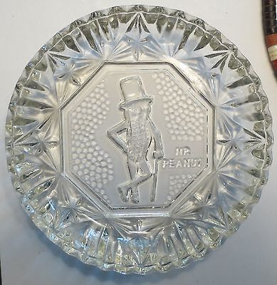 RARE Mr Peanut Planters Peanuts Glass Dish - Nuts Candy Bowl Mints NOS Dad Gift