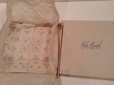 Vintage Handkerchief White W/ Blue Pink & Yellow Embroidery New Old Stock In Box