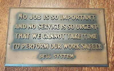 Vintage Bell System Safety Creed Sign