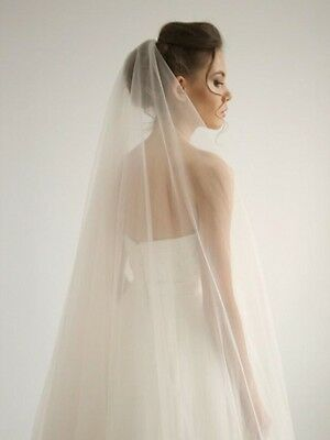 Handmade Ivory 1T 3m Bridal Cathedral Veil With Comb Clear Cut