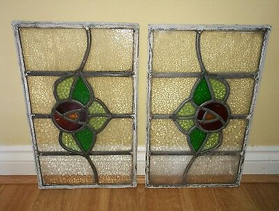 Pair of Vintage Art DecoStained Glass Window's