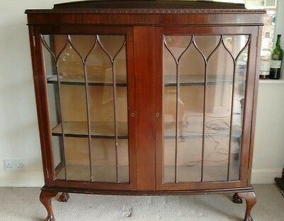 Vintage Edwardian Mahogany  Bow Front Double Door China Display Cabinet With Key