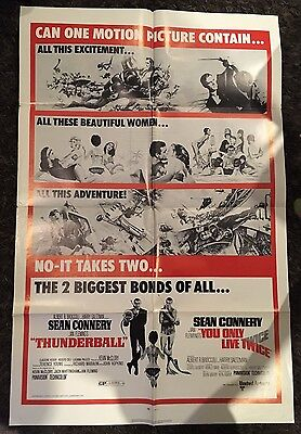 THUNDERBALL/YOU ONLY LIVE TWICE 1sh '71 Sean Connery