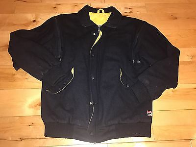 Vintage Super Rare Fila Wool Removable Sleeves Jacket Navy Blue Size US38