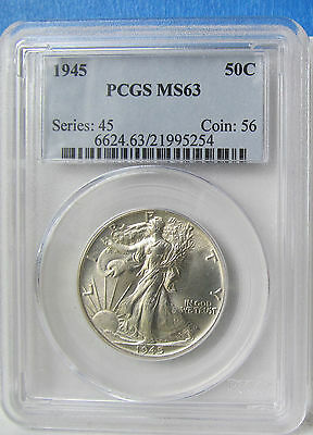 1945 P Walking Liberty Half PCGS MS63, Zoom in!