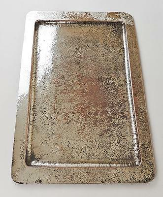 ARTS AND CRAFTS LARGE HAMMERED SILVERED COPPER TRAY c1900