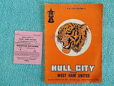 1973 - HULL CITY v WEST HAM UTD PROGRAMME + MATCH TICKET - FA CUP 4TH ROUND