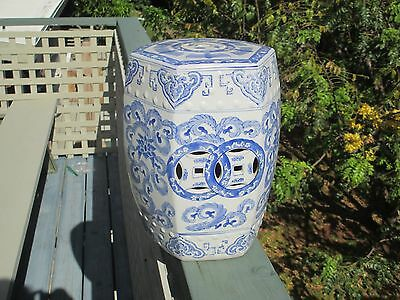 """Vintage 12"""" Chinese Blue White Ceramic Garden Seat Stool Floral Scroll Bats"""