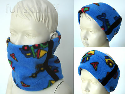 Infant boys BLUE BLACK TRUCK DIGGER TRACTOR NECK WARMER fleece scarf snood cowl