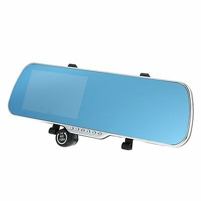 "5""Car Rearview Mirror DVR double lens Front Rear 1080P 720P Camera Recorder I7V1"