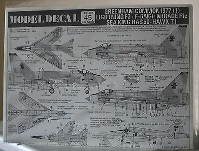 MODELDECAL Set45 Greenham Common 1977(1)Lightning F3:F5A(G)MirageF1 1/72 Scale