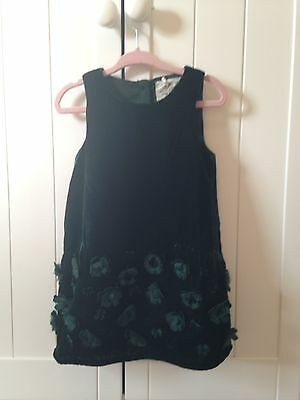 Next Baby Girls Green Velvet Shift Dress With Floral Appliqué 12-18mth Brand New