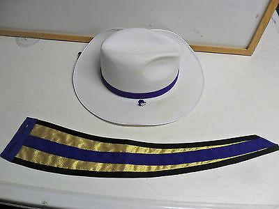 marching band plastic white/purple cowboy hat size large_choose shipping