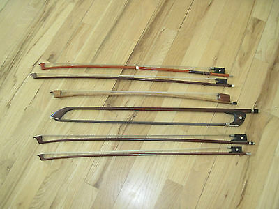 Lot Of Six Antique Violin French Cello Bow Silver Mounts Germany
