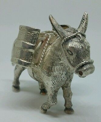Vintage Donkey Cocktail Stick Holder Made From White Metal - Tested 800 Silver