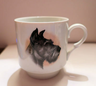 Schnauzer MUG Gray Dog Bavaria Ceramic SCHUMANN ARZBERG Germany 1970s