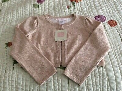 NWT, Janie and Jack girl's metallic cropped  cardigan, cotton blend, size 4