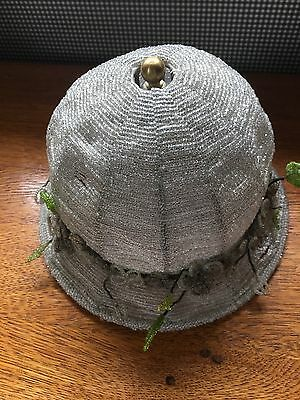 Vintage Glass Bead  Flappper Hat Lamp Shade, White  With  Flowers Really  Cute
