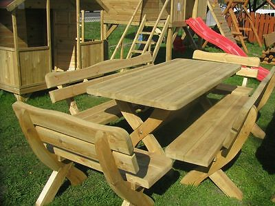 Garden Wooden Furniture Table + 2 Bench + 2 Chairs