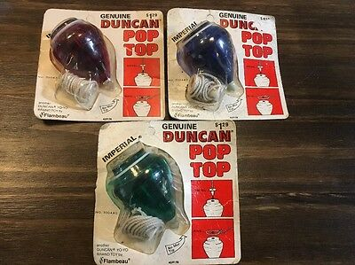 3 Vintage Top Duncan Imperial POP TOP Red Green Blue Unopened Flambeau