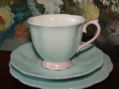 Vintage Royal Albert Pale Blue & Pink China Trio (Cup, Saucer, Plate)
