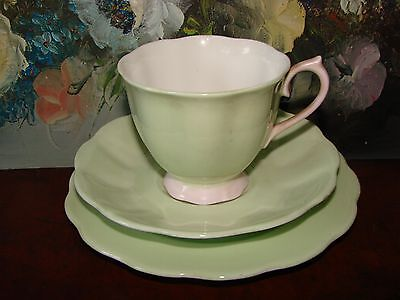 Vintage Royal Albert Pale Green & Pink China Trio (Cup, Saucer, Plate)