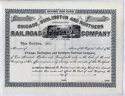 Chicago Burlington & Northern Railroad Company Of Illinois Stock Certificate