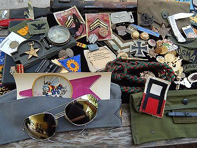 Vintage WW1 German Badge Pin WW2 -Post Patch Pouch Compass Scabbard Military Lot