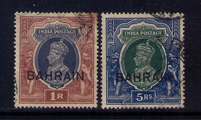 Bahrain Ovpt on Indian Stamps KGVI SC # 32;34 Used Cat.$17