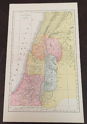 1884 Antique MAP of Palestine Israel Color Rand McNally Atlas 11 1/2 X 19 In