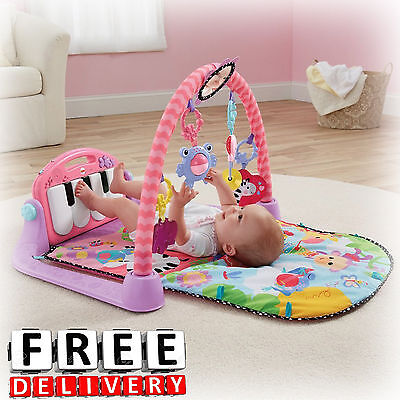 Baby Play Mat Piano Activity Gym Pink Infant Yard Musical Lot Toy Tummy Time New