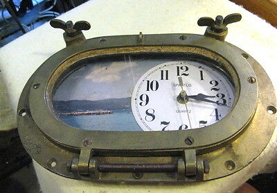 "Vintage Salvaged Brass/Bronze Ship Oblong Ship Port Hole  8"" With Clock"