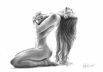 NUDE FEMALE STUDY - A3 PRINT of the original pencil drawing