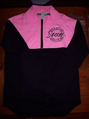 Girls Justice Size 14 Soccer 1/2 Zip Sweater Pink/Black NWT