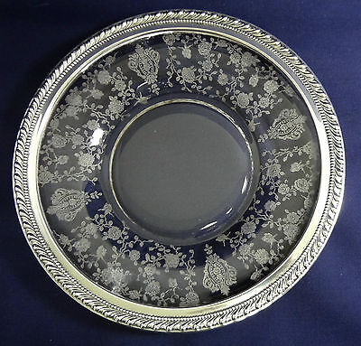 """Vintage Wallace 'Rose Point' Etched Crystal Plate w/Sterling Silver Rim - 7 1/8"""""""